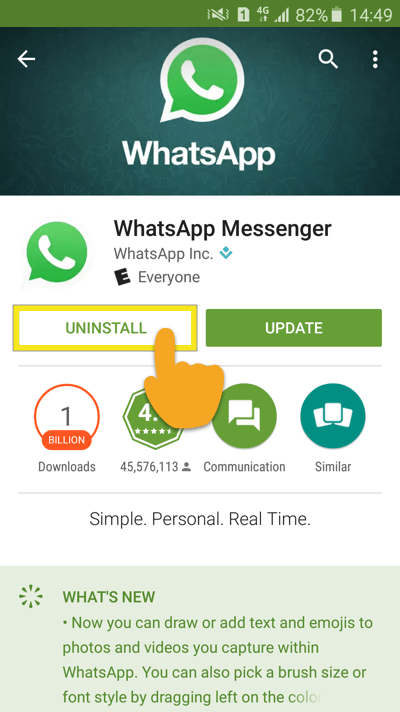 Удалить whatsapp