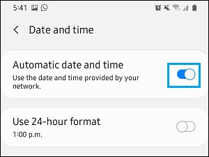 Установить правильную дату и время